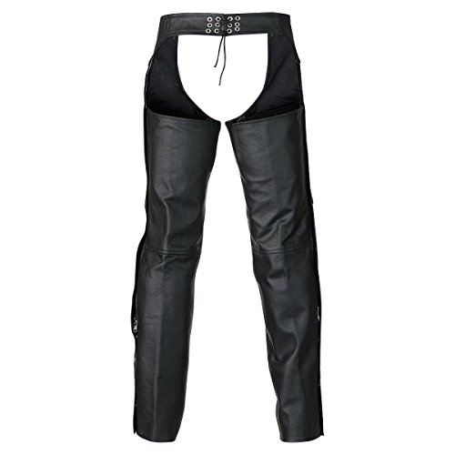 Leather Chaps - Classic Biker Leather Motorcycle Chaps L