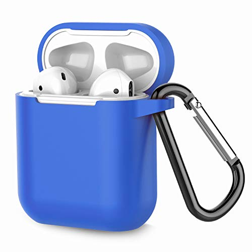 Airpods Case, Coffea AirPods Accessories Shockproof Case Cover Portable & Protective Silicone Skin Cover Case for Airpods 2 & 1 (Front LED Not Visible) - Blue