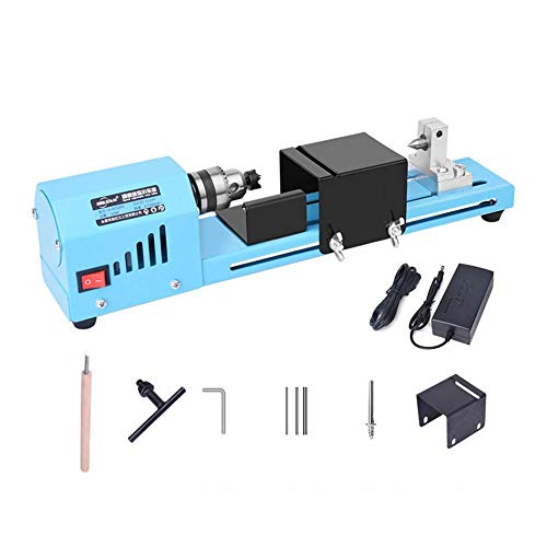 TENLSO Mini Motorized Lathe Machine, 24V DC 150W Multifunction Lathe Beads Polisher Machine CNC Machining for Table Woodworking DIY Tool Lathe Standard Set