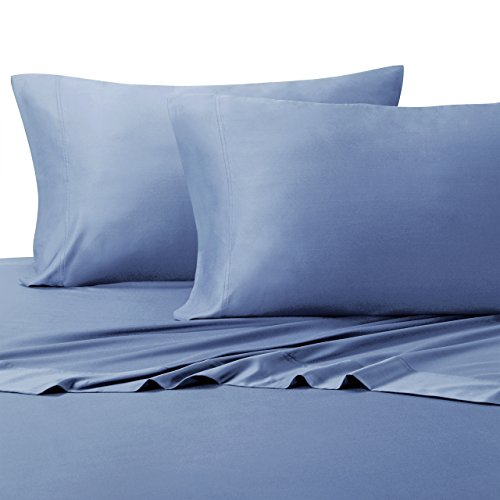 Top-Split King: Adjustable Split Top King Periwinkle Bamboo bed sheets 100% Rayon from Bamboo Sheet Set - Adjustable Bed Sheets