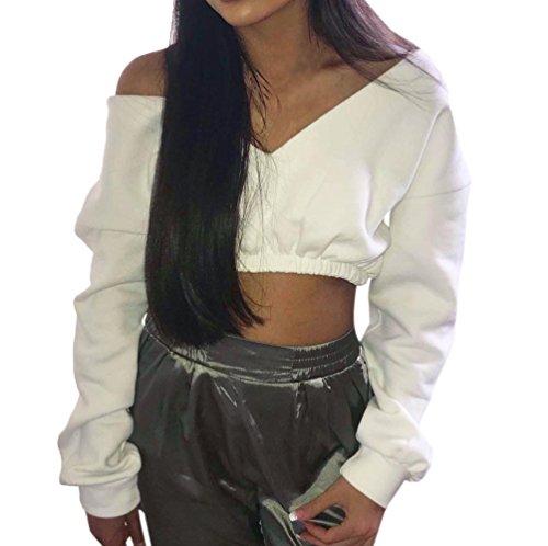 shirts Femmes Blouse Blanc T Tops Longues Couleurs Et Cou Automne Pull Mode Printemps Pulls T Manches Legendaryman V Molletonnés Crop Plaine shirt Sexy À OxwBzq