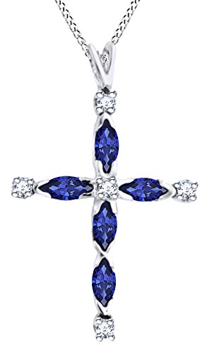 AFFY Marquise Cut Simulated Blue Sapphire White Diamond Cross Pendant Necklace in 10K Solid White Gold