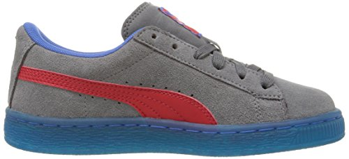 Puma Suede LFS Iced Kids Sneaker (Little Kid) Steel Gray/High Risk Red/Puma Royal