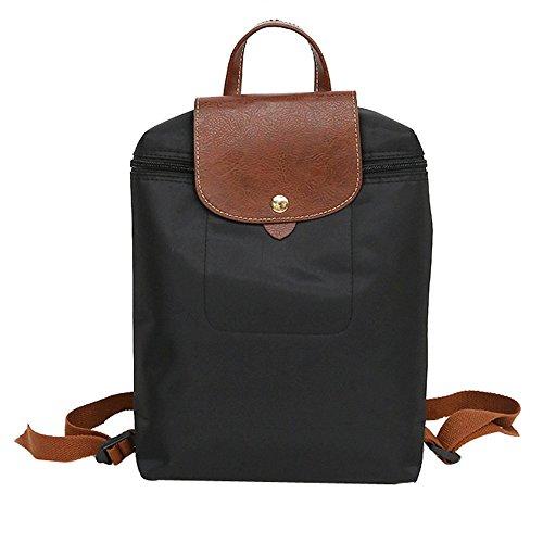 Clearance Processing!XGUMAOI Women Leisure Travel Nylon Zipper Bag Student Backpack Folding Bag Waterproof College Shoulder Bag (Black)