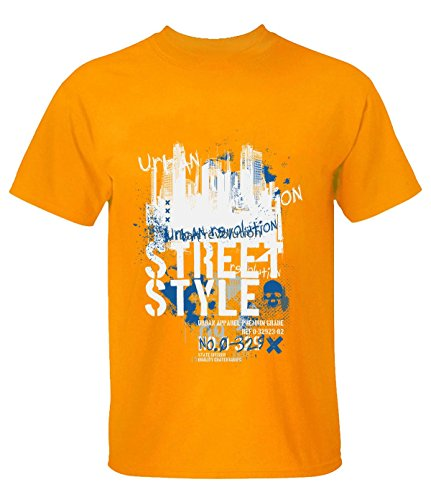 Crossing Men Building Street Style Graffiti Graphic Text Tee S orange (Java Code Generator)