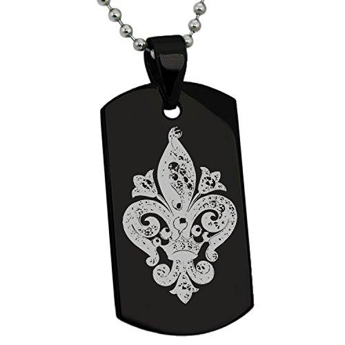 Tioneer Black Stainless Steel Crown Fleur De Lis Symbol Engraved Dog Tag Pendant Necklace ()