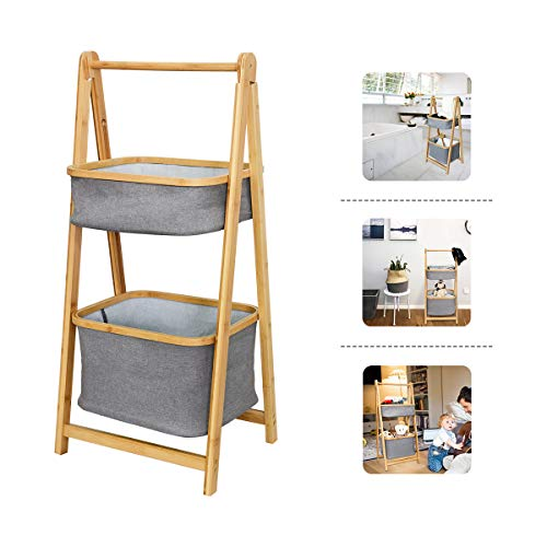 Shelving Unit Organizer Bamboo Handle Collapsible Bathroom Storage Shelf with Gray Canvas Bags for Saving Space (2 tier)
