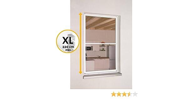 Hecht Mosquitera con marco fijo extraíble para ventana Smart XL, fabricada en aluminio, ajustable tanto en altura como en anchura mediante rosca, red de fibra de vidrio antiinsectos y antimoscas, (XL: 130