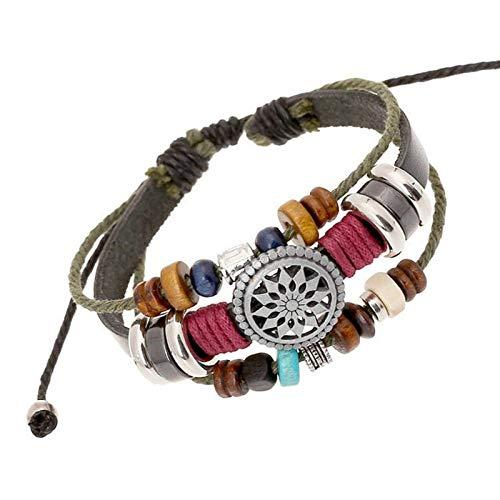 (Leedford Men Obsidian Boho Multi-Layer Bracelet Boutique Faceted Genuine Gemstone Stretch Handmade Bead Leather Bangle Bracelets )