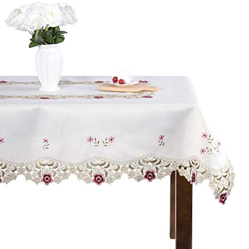 Embroidered Square Tablecloth - Damask Rose red Little Plum Embroidered Beige Tablecloth Square 50 inch Approx
