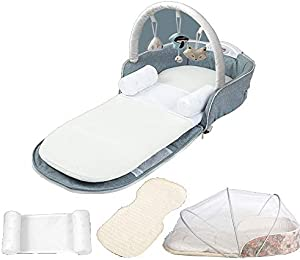 Heay Travel Baby Bed, Portable Bassinets for Baby,Portable Nest Infant Sleeper with Multifunctional Music Box and Anti-Rolling Pillow,Comfortable Baby Lounger for 0-12 Months Newborn Babies