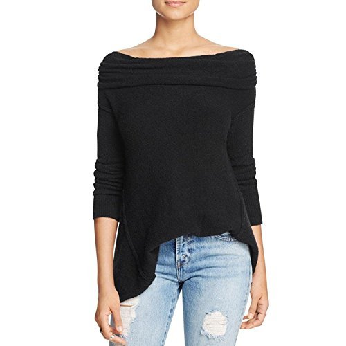 Free People Womens Boucle Cowl Neck Pullover Sweater Black XS
