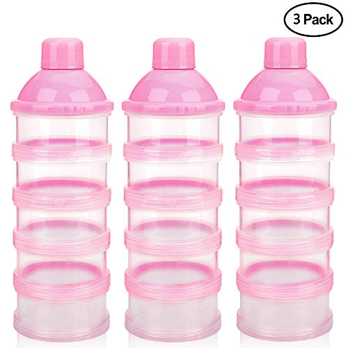 Accmor Baby Milk Powder Formula Dispenser, Non-Spill Smart Stackable Baby Feeding Travel Storage Container, BPA Free, 5 Compartments,3 Pack from Accmor