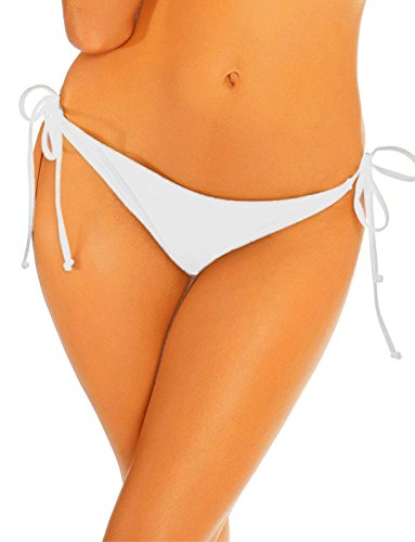 - COLO Women Bikinis Bottoms Adjustable Ruched Butt Back Ruffle Cheeky Thong Underwear s White