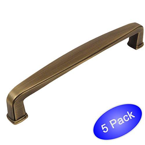 Cosmas 4392-160BAB Brushed Antique Brass Modern Cabinet Hardware Handle Pull - 6-5/16