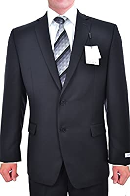 Calvin Klein Slim Fit Black Solid Two Button Wool New Men's Suit Set (40L 34W x 34L)