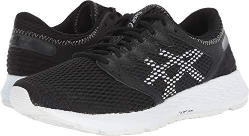 ASICS Womens Roadhawk FF 2 Running Shoe, Black/White, Size 6