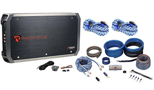 Rockville RXH-F5 1600W RMS 5 Channel Car Amplifier + Amp Kit+ 2 Free RCA ()