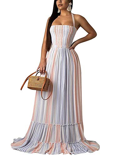 Women's Sexy Long Dress Halter Sleeveless Back Cut Out Rainbow Striped Tube Top Maxi Dress Beach Sundress Pink L