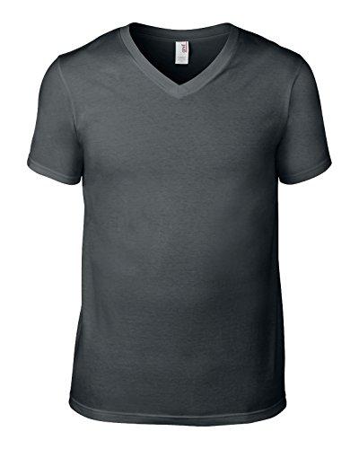 Amboss av106Herren Baumwolle Fashion Basic V-Ausschnitt T-Shirt Anthrazit groß