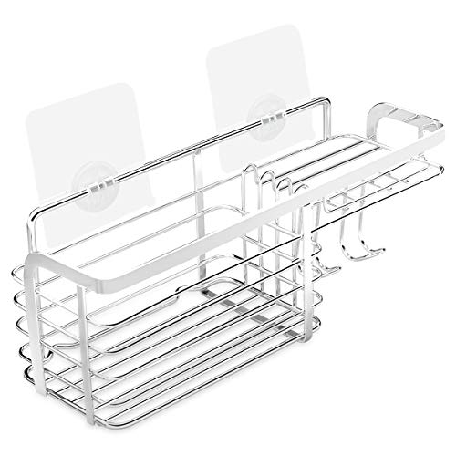 Vinsda No Drilling Multifunctional Shower Shelf, Stainless Steel Bathroom Caddy Adhesive Storage Basket with Hooks for Shampoo, Soap
