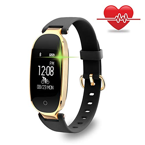Fitness Tracker, Nevoc Smart Watch With Heart Rate Monitor, IP67 Waterproof Sport Tracker With Blood Pressure Monitor For Kids Women Men (Black Gold) Nevoc