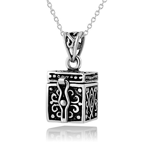 925 Sterling Silver Oxidized Antique Poison Prayer Box Pendant Necklace, 18