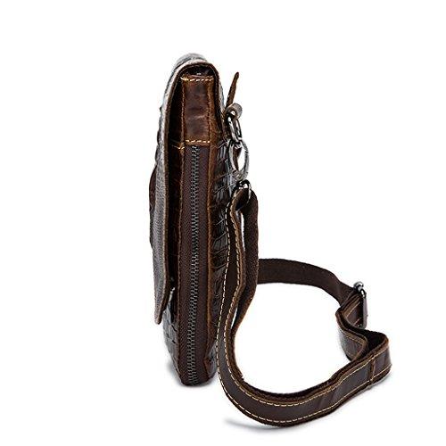 Bolsos Autentico Piel Bolso Hombro 1 Bolsa 16x2x22CM Bolsos Pecho Bandolera de Sucastle 2 y Resistentes Hombre de Cuero Pequeña Mochila F0Hqt8x