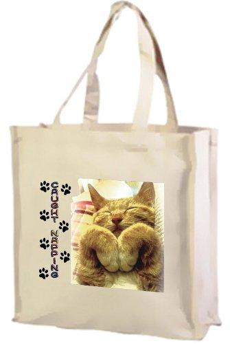 Carpet catturato, Ginger Cat-Borsa della spesa in cotone, colore: panna