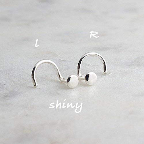Nose Hoop Twist Screw Earring Shiny Silver Disc 3mm by Fashion Art Jewelry