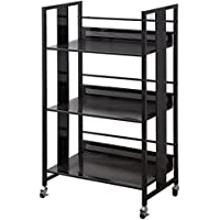 Black Metal Bookcase with Casters by Coaster Furniture