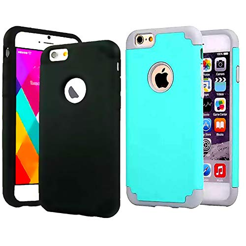[2pack] CaseHQ Case for iPhone 6 plus/6s Plus, Rugged Heavy Duty Protection Shockproof Slim FitShock Absorption/Dual Layer TPU + Back Scratch Resistant Reinforced Corner Frame Case Cover-Teal+Black