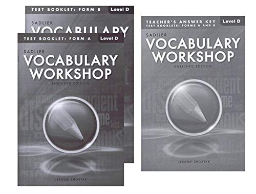 Vocabulary Workshop Test Booklet Form A,B Enriched Edition with Teacher's Answer Keys Level D