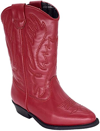 PPXID Girl's Pointed Toe Knee-high Cowboy Western Boots-Red 1 US Size