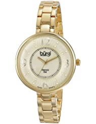 Burgi Womens BUR103YG Yellow Gold Swiss Quartz Watch with Mother of Pearl and Yellow Gold Dial and Yellow Gold...