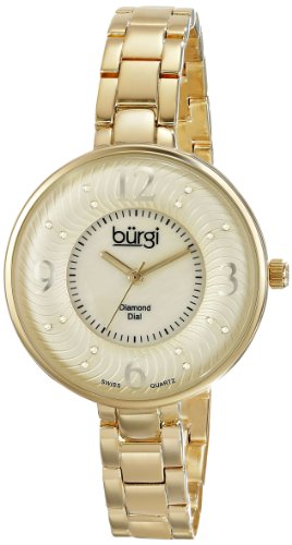 Dial Yellow Markers (Burgi Women's BUR103YG Yellow Gold Swiss Quartz Watch with Mother of Pearl and Yellow Gold Dial and Yellow Gold Bracelet)
