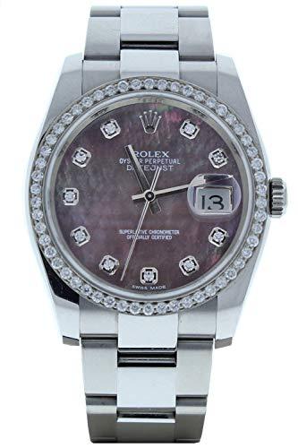 Rolex-Model-116200-Datejust-Mens-Oyster-Watch-Custom-Dark-MOP-Diamond-Dial-Diamond-Bezel-Certified-Pre-Owned