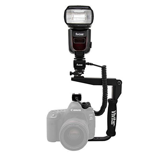 Focus Camera Professional Zoom TTL Speedlite Flash - With built-in Transmitter/Receiver For Canon and Nikon DSLR Cameras + Off Camera Shoe Cord, Flash Bracket and Battery Charger Bundle by Focus Camera