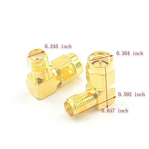 5pcs SMA Male to Female Right Angle 90-Degree Adapter Gold Plated Contacts Pack of 5 -