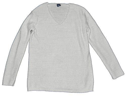 GAP Womens Ivory Metallic Lurex V-Neck Pullover Sweater Medium