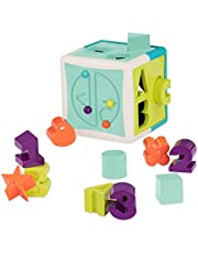 Battat - Shape Sorter Cube – Sorting Toy for Learning – Shapes, Letters, Numbers – 12 pcs – Educational Activity Cube with Bead Maze – Toddlers, Kids – 2 years +,Assorted Colors