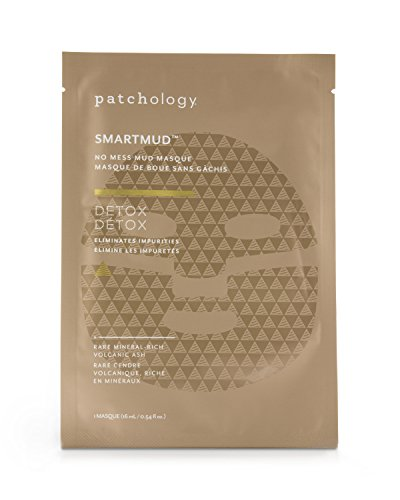 Patchology Detox SmartMud No Mess Mud Sheet Mask for Deep Cleaning Pores and Blackheads w| Volcanic Ash, Kaolin Clay- Single Mask