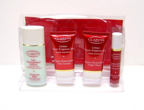 Clarins Paris Skin Care Set – Includes: Cleansing Milk Normal or Dry Skin 1.7 Fl. Oz., Super Restorative Night Wear 0.53 Fl. Oz., Super Restorative Day Cream 0.53 Fl. Oz., and Super Restorative Serum 0.33 Fl. Oz.