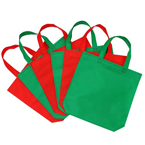 Green Woven Fabric - Elcoho 20 Pack 11.5 X 11.5 Inch Christmas Non-Woven Bags Gift Tote Bag Treat Bags Party Bags with Handles for Christmas Birthday Party Favors, Green and Red
