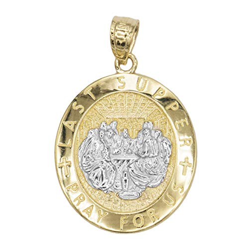 (Ice on Fire Jewelry 14k Yellow Gold Last Supper Medal Necklace with 18 Inch Chain)