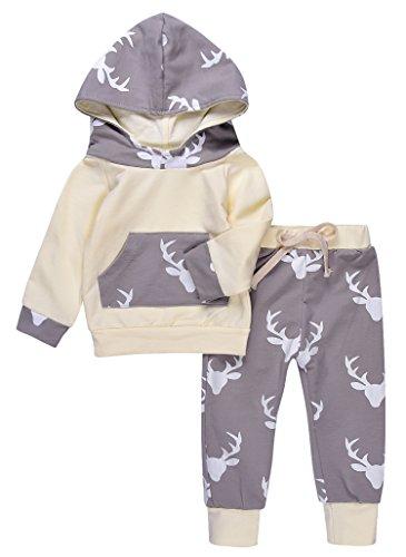 Deer Hoodie (Newborn 2PCs Baby Boy Girls Deer Printing Long Sleeve Hoodie Tops Sweatsuit + Pants Outfit Sets (100(18-24M), Beige))
