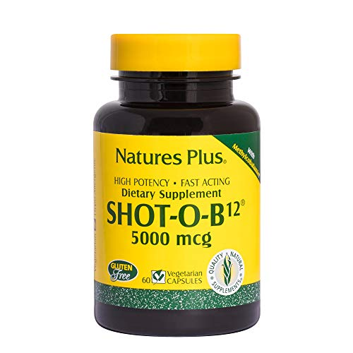 Natures Plus Shot-O-B12 (Methylcobalamin) - 5000 mcg, 60 Vegetarian Tablets, Sustained Release - High Potency Vitamin Supplement, Energy Booster, Memory Enhancer - Gluten Free - 60 Servings - Natures Plus Shot