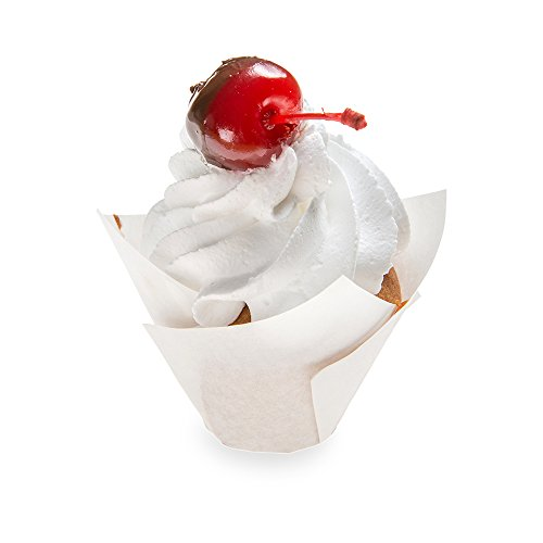 Tulip Petal Baking Cups: Small 0.4-oz Grease Proof Paper Baking Cup - Perfect for Muffins, Cupcakes or Mini Snacks – Sugar White – Disposable and Recyclable – 200-CT – Restaurantware