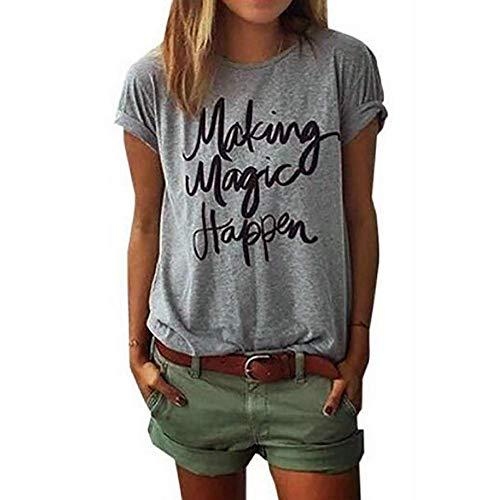 ZSIIBO Womens T Shirt Funny T Shirts Character Printed Tees Short Sleeve Tops Crewneck T-Shirts Making Magic Happen