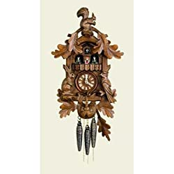 Original One Day Mechanical Movement Cuckoo Clock with Dancers, 2 Tunes, Hunting Scene and Squirrel on Top 17 Inch
